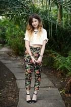 black Oasis pants - white Missguided top - black Oasis heels