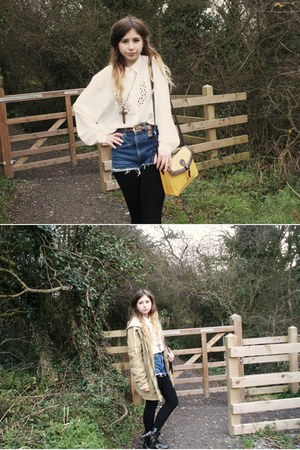 vintage from Ebay blouse - Topshop coat - Primark bag - vintage shorts