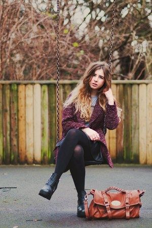 black Boohoo skirt - maroon Topshop coat - tawny Ebay bag - silver Boohoo vest