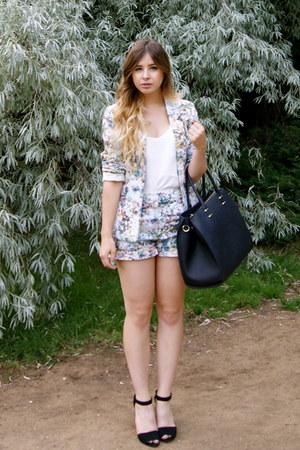 aquamarine Oasis suit - black H&M bag - white H&M top