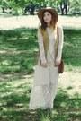 White-miss-selfridge-dress-brown-primark-bag-camel-miss-selfridge-vest