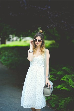white Marks and Spencer dress - heather gray Marks and Spencer bag