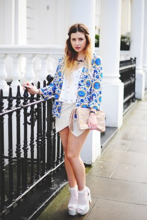 blue Boohoo blazer - neutral asos bag - ivory Boohoo shorts - white Boohoo top