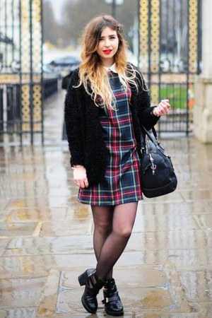 black ponyskin warehouse bag - ruby red tartan check Ebay dress