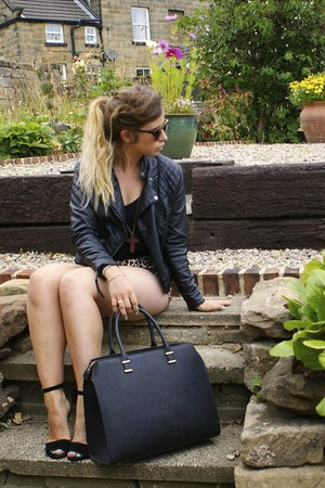 black H&M jacket - black H&M bag - dark brown Forever 21 shorts - black H&M top
