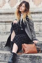 gray Oasis coat - ivory Miss Selfridge hoodie - black warehouse pants