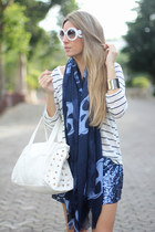 skulls Link and Love scarf - paillettes Coosy shorts - round romwe sunglasses