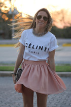 high waist chicnova skirt - logo Sheinside t-shirt - white and nude Zara sandals