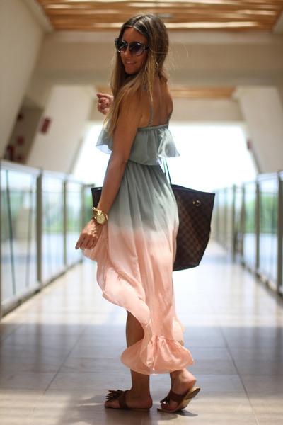 light pink ombr tail hem OASAP dress - heather gray  romwe sunglasses