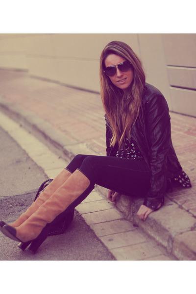 romwe blouse - Zara boots