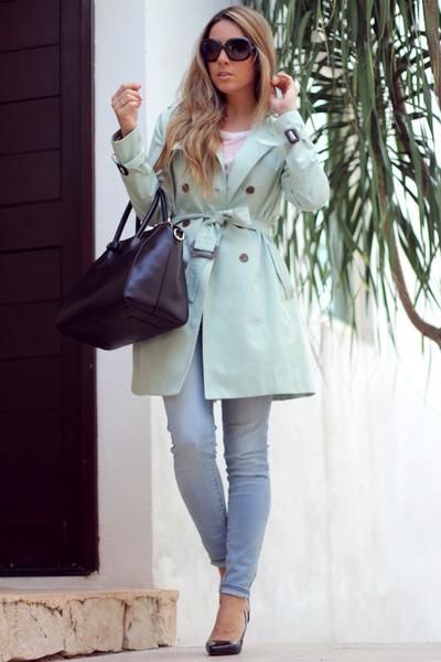 mint Queens Wardrobe coat - stilettos OASAP shoes - black OASAP bag