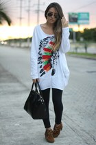 romwe t-shirt - romwe boots - Sheinside coat - OASAP bag