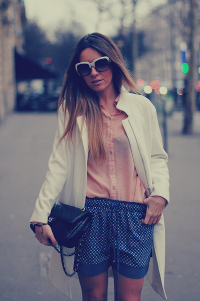 Zara coat - Chanel bag - Zara shorts - Zara sunglasses - Primark blouse
