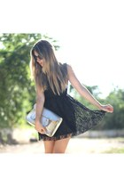 lace romwe dress - Stella Rittwagen bag - Giorgio Armani sunglasses
