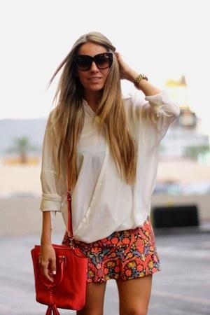 red coach bag - cat eye Zero UV sunglasses - white romwe blouse