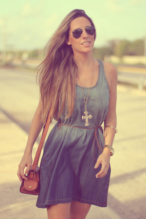 denim Sheinside dress - Bershka bag