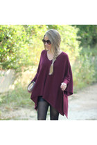 oxblood knit lulus jumper - leather like romwe shorts - round romwe sunglasses