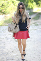 skater romwe skirt - Sheinside coat - satchel romwe bag