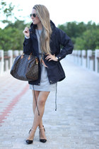 tee dress Sheinside dress - navy Sheinside coat - speedy Louis Vuitton bag