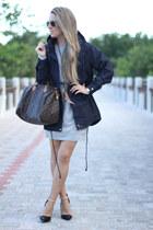 tee dress Sheinside dress - navy Sheinside coat - speedy Louis Vuitton bag