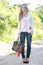 Sheinside cardigan - Zara scarf - OASAP bag - romwe necklace