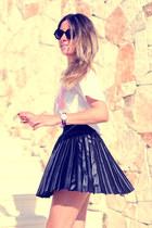 armani sunglasses - leather pleated romwe skirt - Little -id t-shirt