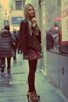 perfecto romwe jacket - floral print romwe skirt