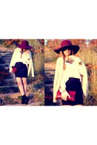 Primark hat - Rebeca Sanver boots - vintage bag - Zara skirt - Lovelix necklace
