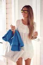 sky blue Sheinside blazer - babydoll Sheinside dress