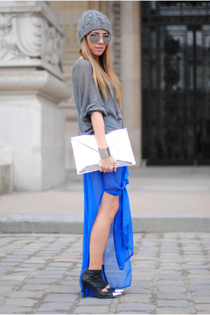 blue transparent Primark skirt - black peek shoes Nowhere shoes