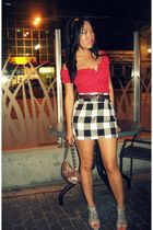 top - roberto vianni shoes - Guess purse - belt - skirt