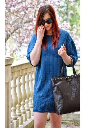 teal sweater dress Missoni dress - black Gucci bag