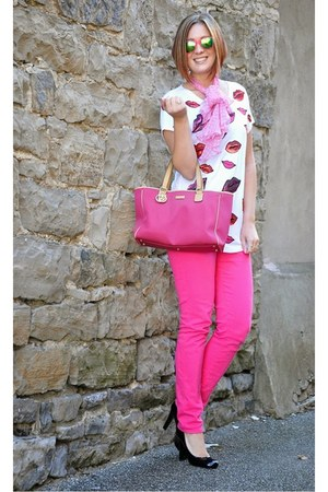 bubble gum Gucci bag - hot pink Ralph Lauren pants - dark gray pumps Gucci heels
