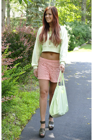 chartreuse Stella McCartney top - pink crochet unknown shorts