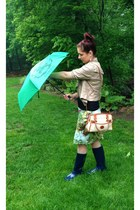 green umbrella Burberry accessories - navy rain boots Ralph Lauren boots