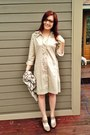 Camel-tahari-dress-cream-burberry-scarf-light-brown-born-sandals