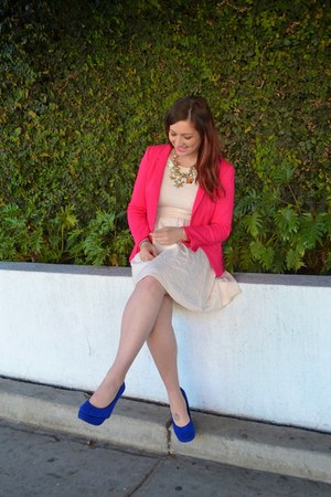 ivory Target dress - hot pink Tahari blazer - blue Betsey Johnson wedges