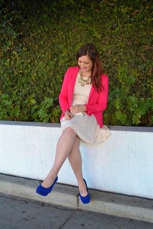 ivory Target dress - hot pink Tahari blazer - blue Betsey Johnson wedges