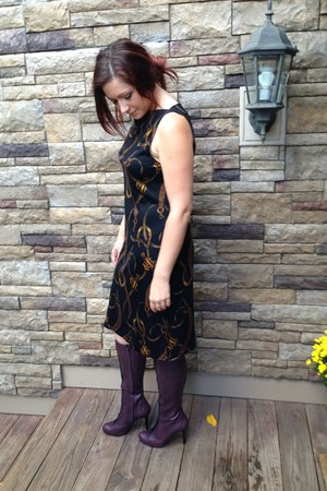 deep purple Cole Haan boots - black Ralph Lauren dress