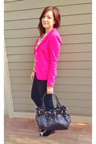 hot pink Tahari blazer - dark brown Burberry purse - black Ugg wedges