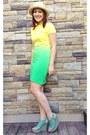 Yellow-ombre-ralph-lauren-dress-cream-unkown-hat-light-blue-anna-luz-wedges
