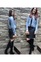 teal denim Ralph Lauren jacket - black Nine West boots - black the gap dress