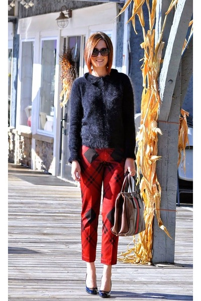 dark gray fuzzy Gucci sweater - ruby red checkered Gucci pants