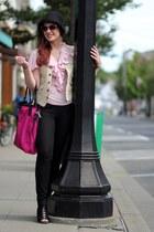 light pink Ralph Lauren top - hot pink Burberry bag