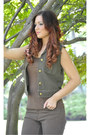 Dark-brown-liberty-black-boots-army-green-cotton-ralph-lauren-vest