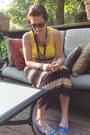 Dark-brown-missoni-skirt-yellow-ralph-lauren-top-navy-diy-necklace