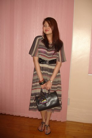 vinatge dress - black Louis Vuitton bag - black waist Zara belt - green ceramic
