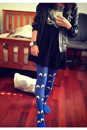 blue googly eye Dangerfield stockings - black pleather jacket - silver DIY top