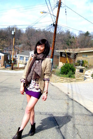 Frye boots - vintage shirt - Forever21 top - American Apparel skirt - H&M cardig