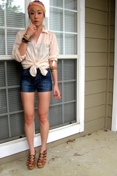 H&M shirt - Forever21 scarf - Zara shorts - dvf wedges